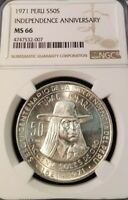 1971 PERU SILVER 50 SOLES INDEPENDENCE ANNIVERSARY NGC MS 66 BLAZING GEM BU COIN
