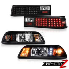 Ford Mustang 87-93 Black LED Headlight+Corner Signal Lamp + Tail Light Combo Set