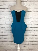 Lipsy Teal Black Strapless Peplum Style Bardot Mini Occasion Party Dress UK 10