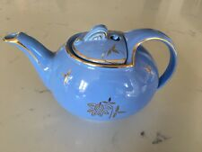 VINTAGE HALL CADET BLUE TEA POT WITH HOOKED LID GOLD LEAVES AND TRIM