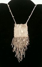 Old Zuni Beaded Medicine Bag/Pouch - Silver & Clear on Necklace