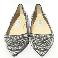 JIMMY CHOO Alina Black White Gray Woven Patent Trim Point Toe Ballet Flats 39 EC