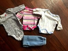 Lot of 4 Baby Girl Sz 0-3 Months One -Pieces & Pants ~Long Sleeves +
