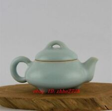 China antique Porcelain handmade sky blue agate glaze Ru Kiln three foot Teapot
