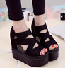 Womens Creeper Peep Toe High Platform Wedge Heel Sandals Punk Hollow Out Shoes