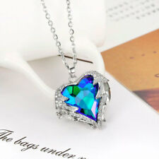 Angel Wings Blue Crystal Heart Pendants Necklaces Gift For Women With Gift Bag
