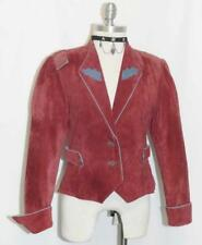 RED ~ LEATHER German Women Hunting Riding Western Short Fitted Coat JACKET 4 XS