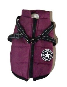 waterproof dog coat with Integral harness Purple