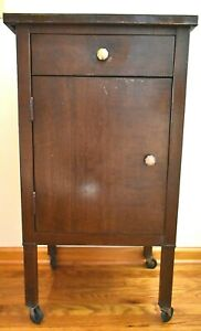 "Antique Simmons Metal Medical Dental Cabinet 36"" Tall Original Wood Grain Finish"