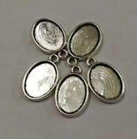 2pc dark silver color floral key charms round cabochon setting in 20mm EF3130
