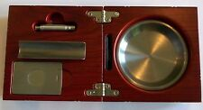Rosewood Effect 3 Piece Folding Cigar Box Ashtray With Cutter, Punch, Cigar Rest