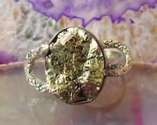 Ring Sterling Silver 925 Stone Golden Pyrite from Peru Katzengold inkastein