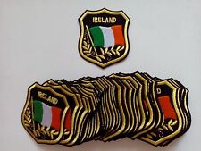 """50 IRELAND Flag in shield Embroidered Patches 3.25""""x2.75"""""""