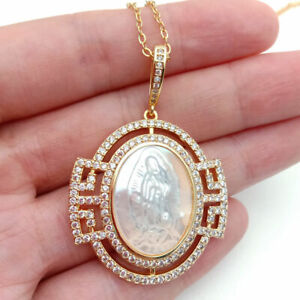 white shell cameo Avalokitesvara Clear CZ Micro Pave Pendant chain necklace