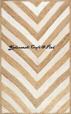 Jute Cotton Rag Rugs Braided Floor Reversible Handmade Indian  Decorative Carpet