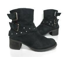 Ladies CLARKS Black Leather Biker Ankle Heeled Boots Size 4 D Good Cond