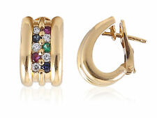 0.80 Cts Natural Diamond Ruby Sapphire Emerald Huggie Earrings In Solid 18K Gold