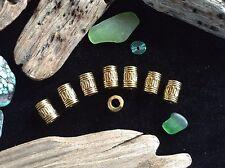 Bracelet Beads 8 Brass Tone 4mm Small Hole Viking Celtic Weave Beard Braid Beads