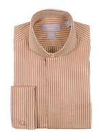 Mens Classic Fit Wrinkle Free Cotton French Cuff Herringbone Striped Dress Shirt