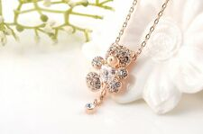 Cutest Rose Gold Plated Austrian Crystal Love Teddy Bear Heart Necklace Jewelry