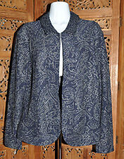 Women's Chico's Travelers Textured Foil Lilia Jacket in Midnight - Size 2