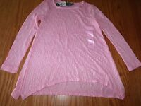 New Womens Chelsea Theodore Textured Top Pink White Long Sleeve Tunic S L XL 2XL
