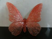VTG LARGE 60's 70's CELLULOID CORAL RED BUTTERFLY BLACK EYES PIN BROOCH