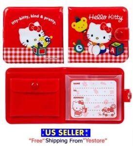 JAPAN SANRIO Hello Kitty Cat Flat kun vinyl wallet Red Purse Kawaii Balloon ABC