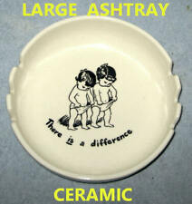 New ceramic Hand Painted pottery ash tray ashtray collectible novelty vtg white