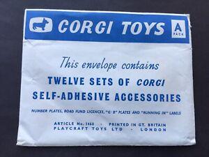 RARE C1960 VINTAGE CORGI TOYS SELF-ADHESIVE ACCESSORIES PACKS A 12 PACK ENVELOPE