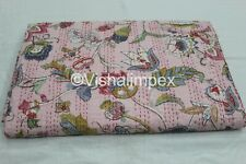 Vintage Kantha Quilt Hand Block Print Floral Cotton Bedspread Throw Gudari Queen