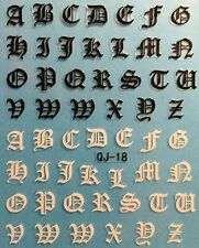 Nail Art 3D Decal Stickers Alphabet Letters Black & White QJ18
