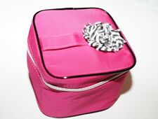 Lancome Paris small travel make up bag fuschia pink with black and white accent