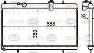 Radiator to suit Citroen C5 / C6 TD 2004 on 3.0L V6 BEHR 8MK376732751 1330.K8