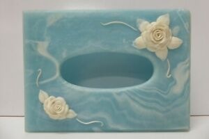 ACRYLIC FAUX MARBLE VINTAGE TISSUE BOX COVER ROSES  AUSTRALIAN RETRO MARLESTONE