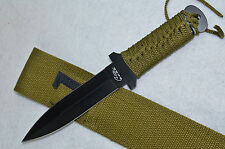 "10.25"" Military Commando Rambo Knife with Nylon Wrapped Handle and Sheath Black"