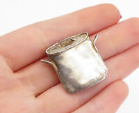 925 Sterling Silver - Vintage Smooth Pot With Lid Motif Brooch Pin - BP5210