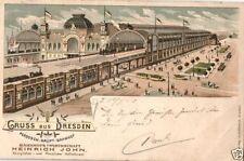 Schallplatten-AK Lithographien aus Sachsen mit dem Thema Eisenbahn & Bahnhof