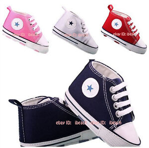 Infant Baby Boy Girl Laces Trainers Soft Sole Pram Shoes Newborn to 18 Months