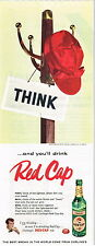 "Original 1940s Carling Red Cap Ale 14 inch advert ""Coat Rack"" Tavern Trove"