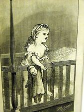 "Augustus Hoppin ""OUR BABY"" LITTLE GIRL w DOLL in CRIB 1867 Antique Print Matted"
