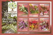 Sierra Leona 2011 Mnh orquídeas de África Occidental 6v m/s I Año bosques Flores