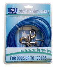 20ft di lunghezza per cane in Metallo forte filo di acciaio esterna Tie Out piombo Cavo ry792