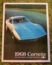 1968 Chevrolet Corvette Sales Brochure 68 Original
