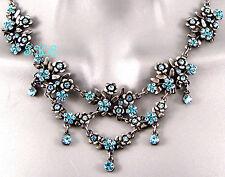 Debenhams De Época Deco Azul Nouveau Flor Capullos Collar Cristales Swarovski