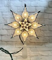 """Jewel Star Tree Topper Clear Lights 8"""" Electric Christmas  Green Wire Holiday"""