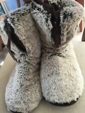 Dearfoams Plush Boot Style Slippers Brown Fuzzy Zip Up - Size XL (US 11-12) NEW
