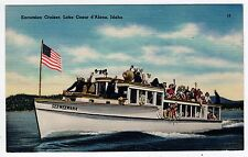 1940 Excursion Cruiser Boat Lake Coeur d'Alene Idaho ID Postcard WWII Soldiers