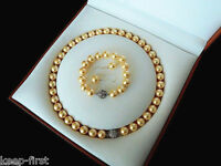 10mm Natural Yellow South Sea shell pearl bracelet earring and necklace set AAA+