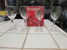 NIKKO CHRISTMAS GLASSWARE 10 1/2 OZ ALL PURPOSE GOBLET SET 4 IN BOX-BEAUTIFUL